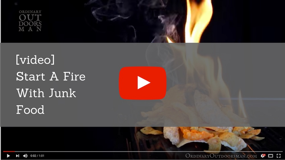 """video link with caption """"start a fire with your food"""""""