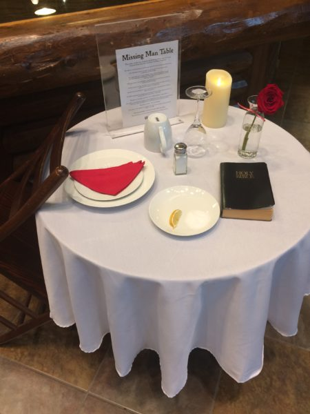 missing man table at a Cebela's store