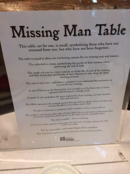 missing man table plaque